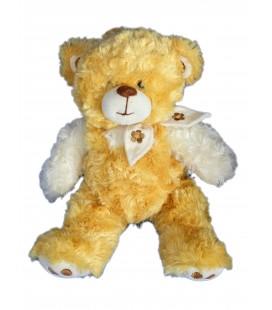 Doudou peluche ours roux jaune orange beige ALTHANS Club 32 cm Foulard fleur