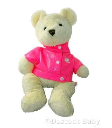 Doudou peluche OUrs blanc écru MARIONNAUD - 40 cm - Manteau rose
