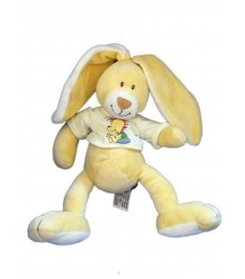 Doudou peluche LAPIN beige jaune t-shirt Pull - Anna Club Plush - H 28 cm