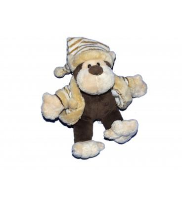 Doudou peluche singe marron beige Planet Pluch Jemini 16 cm