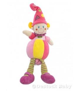Doudou LUTIN Clown NICOTOY - Rose jaune Etoiles - MUSICaL - 34 cm