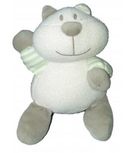Peluche Doudou CHAT blanc gris Vert Luminescent - LUMINOU - Brille dans le noir - 30 cm