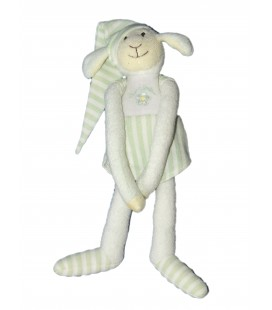 Doudou Peluche Agneau Mouton Vert blanc - LUMINOU Jemini - H 35 cm
