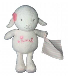 Doudou Peluche MOUTON Agneau blanc rose - LUMINOU Jemini - Luminescent - Brille dans le noir - H 30 cm
