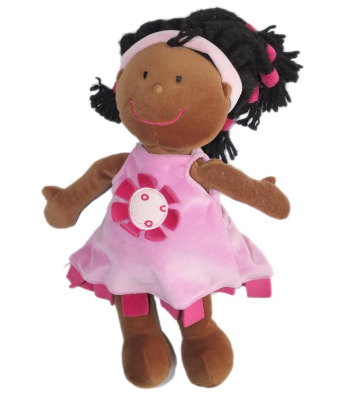 doudou peluche poupee noire m tisse fnac eveil et jeux h 34 cm robe rose. Black Bedroom Furniture Sets. Home Design Ideas