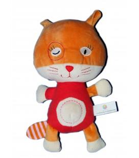 Doudou Peluche CHAT rouge orange - OXYBUL Fnac Eveil et Jeux - H 22 cm