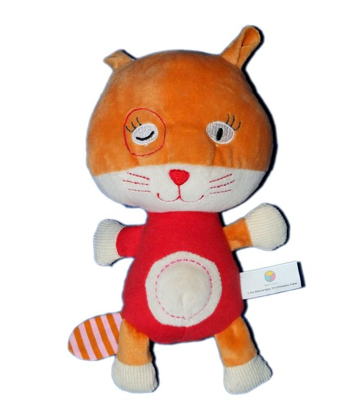 doudou peluche chat rouge orange oxybul fnac eveil et jeux h 22 cm. Black Bedroom Furniture Sets. Home Design Ideas