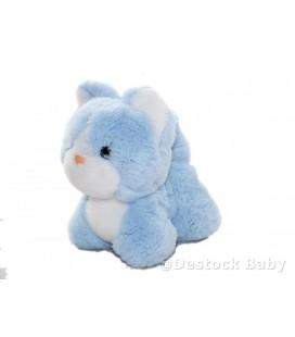 Doudou peluche BOULGOM - Chat blanc bleu 15 cm