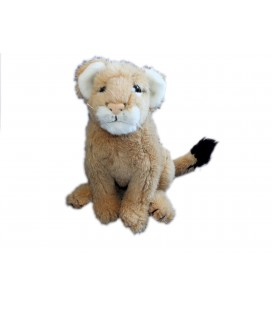 VINTAGE - Peluche Doudou Ancien LION Lionceau - Beige - WWF - WORLD WILDLIFE FUND 1985 H 30 cm