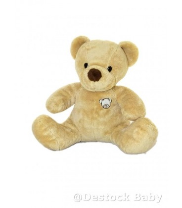 Doudou peluche OURS beige NICOTOY The Classic Collection - Nez marron Taªte brodée H 24 cm