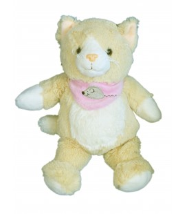 Doudou peluche CHAT beige Foulard Souris ALTHANS Club - H 32 cm