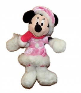 Doudou peluche MINNIE rose Echarpe habits hiver Robe Disneyland Resort Paris 28 cm