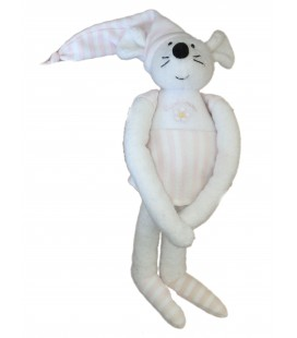 Doudou Peluche SOURIS Rose blanc - LUMINOU Jemini - H 35 cm