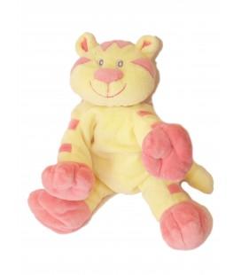 Doudou Peluche CHAT jaune rose - KIABI - L 20 cm + queue