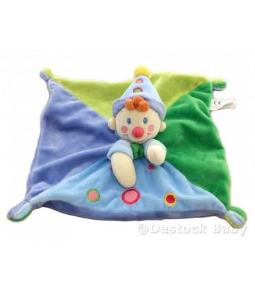 Doudou plat carré CLOWN Lutin Gara§on bleu vert NICOTOY Baby Comforter