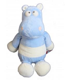 Peluche doudou HIPPOPOTAME bleu blanc PEEKO - H 28 / 38 cm