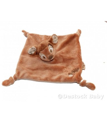 Doudou plat BaMBI - Disney Nicotoy - Motif feuille gland marron écru
