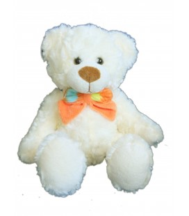 Peluche doudou OURS blanc Noeud Orange - Althans club - H 22 cm