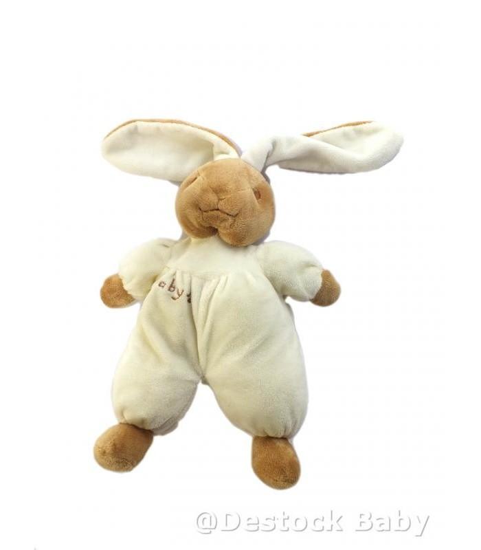 Doudou peluche lapin blanc beige marron clair cp - Peluche lapin marron ...