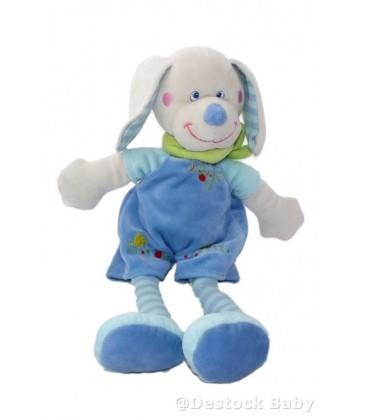Doudou Lapin Chien bleu MOTS D'ENFANTS Siplec Poussin 34 cm