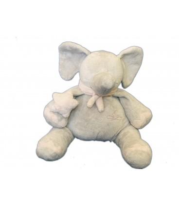 Doudou Peluche ELEPHANT gris rose assis - PLAYKIDS - CMI - Mod. Moyen - H 20 cm / 30 cm