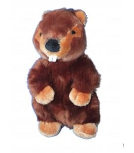 Peluche Doudou Marmotte marron LASCAR 26 cm