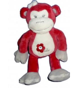 Doudou singe rouge bordeaux gris blanc Arthur et Lola Bébisol 25 cm Fleur brodée