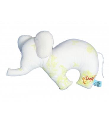 Doudou peluche tissu ELEPHANT Blanc vert PAPILI - Coton Equitable Bio - L 35 x H 22 cm