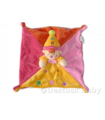 NICOTOY - Doudou Clown Lutin rose jaune orange ronds brodés - 724B2