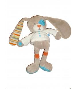 Peluche Doudou Lapin Chien TEX Baby - Gris beige Couverture verte - H 28 cm
