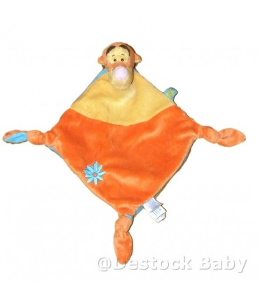Doudou Plat TIGROU Disney Baby Orange Jaune Et Bleu Kiabi Nicotoy Fleur