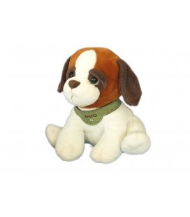 Doudou peluche CHIEN assis marron blanc Dog Plush PLAYKIDS CMI - H 28 m