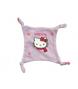 Doudou plat mauve rose Flocons - HELLO KITTY - 4 noeuds - Licence SANRIO