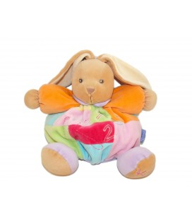 Doudou LAPIN orange Multicolore KALOO 123 - Grelot - H 20 cm