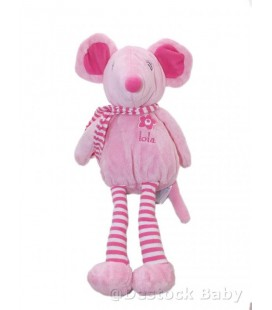 Doudou souris rose Arthur et Lola Bébisol 35 cm écharpe rayée