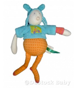 Doudou Pinpin bicyclette MOULIN ROTY Bleu orange 25 cm Colette et ET Pinpin