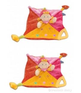 LOT DE 2 -- Doudou plat Lutin clown rose MOTS D'ENFaNTS - anneau dentition