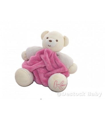 Doudou ours rose blanc KaLOO - Coll Plume - 25 cm Patapouf boule