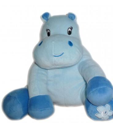 Doudou Hippopotame Vache bleu Arthur et Lola BEBISOL Grelot 20 cm