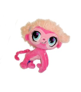 Peluche Singe Ouistiti Gorille rose LITTLEST PET SHOP - H 26 cm