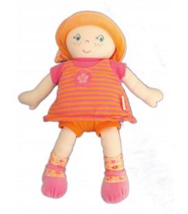 Doudou Poupée tissu COROLLE 2007 - Rose orange rayures Fleur - H 30 cm
