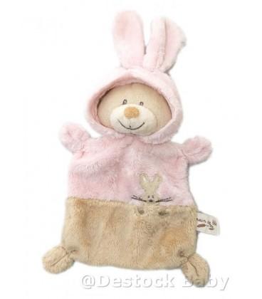 Doudou plat Ours déguisé lapin GRAIN DE BLE Rose marron clair beige