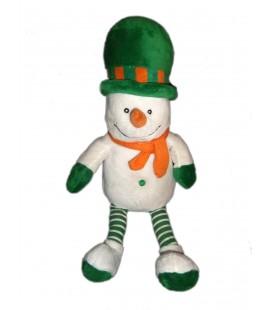 Doudou peluche Bonhomme de neige blanc vert orange CA LOGOPROM 40 cm