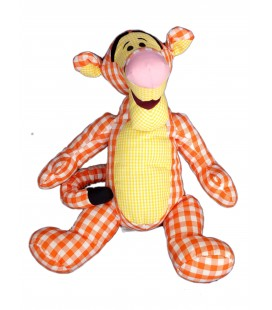 Doudou peluche - TIGROU jaune orange Carreaux Vichy - Authentique Original Disney Store - H 34 cm