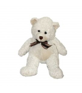 Peluche ours blanc Marionnaud Noeud marron