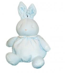 Doudou Lapin bleu blanc rayures bebe Laboratoires KLORANE 25 cm