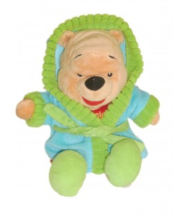 Doudou peluche WINNIE L'OURSON The Pooh Peignoir Bleu Vert Disney Nicotoy - H 28 cm