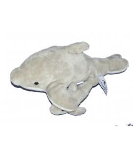 Peluche doudou DAUPHIN gris blanc et son bébé - MARINELAND - L 30 cm
