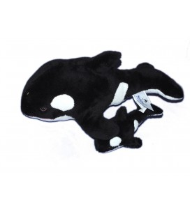 Peluche doudou DAUPHIN noir blanc et son bébé - MARINELAND - L 30 cm