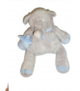 Doudou Peluche ELEPHANT gris bleu assis - PLAYKIDS - CMI - Grand Mod. - H 30 cm REF 23100062